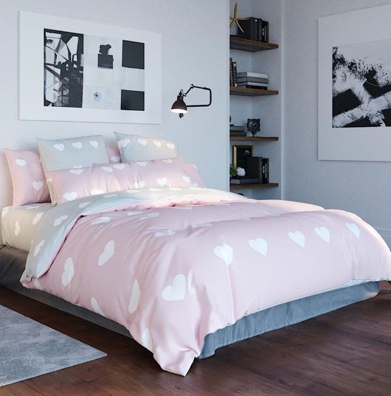 Постельное белье двуспальное Теп Ranforce Pink love hearts 2-00887-093