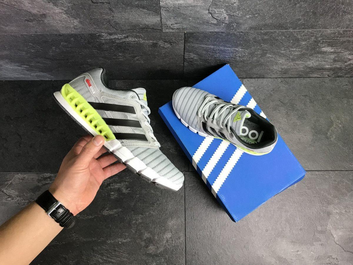 55f917cb7a720a ... Мужские кроссовки светло серые с салатовым Adidas Clima Cool 7775 5 ...
