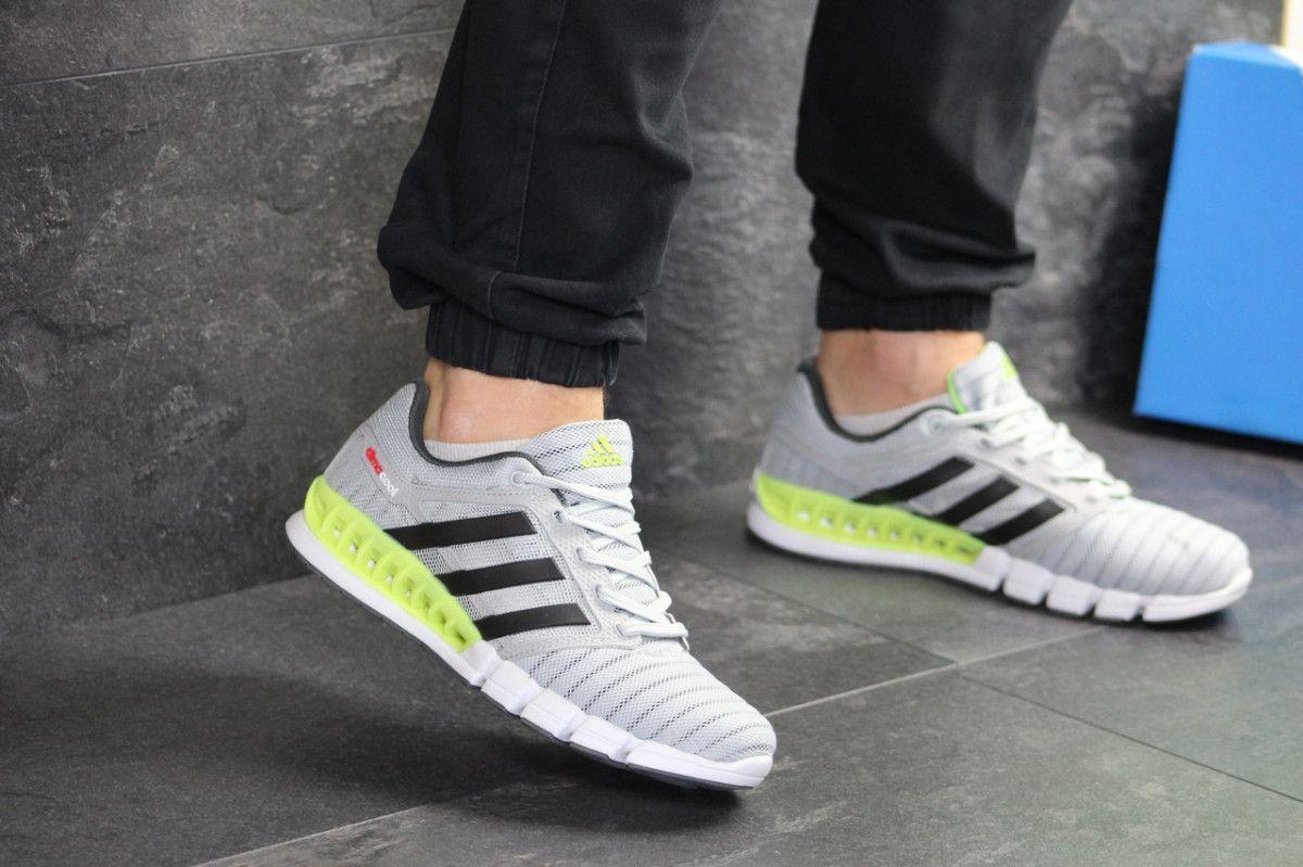 a6040c70f36d25 Мужские кроссовки светло серые с салатовым Adidas Clima Cool 7775 2 ...