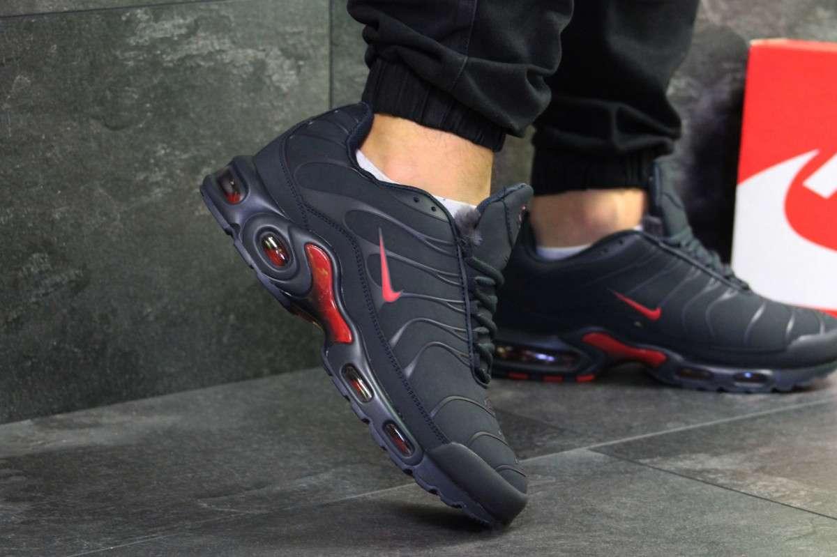 0264d6cf Мужские зимние кроссовки темно синие с красными вставками Nike Air Max