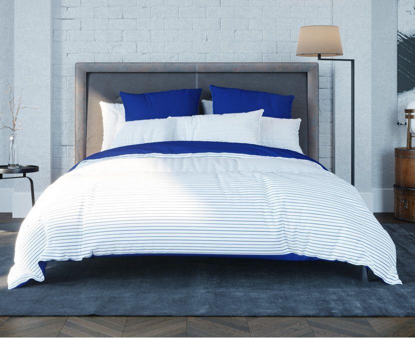Постельное белье двуспальное Теп Ranforce Stripe Blue ранфорс 2-00887-