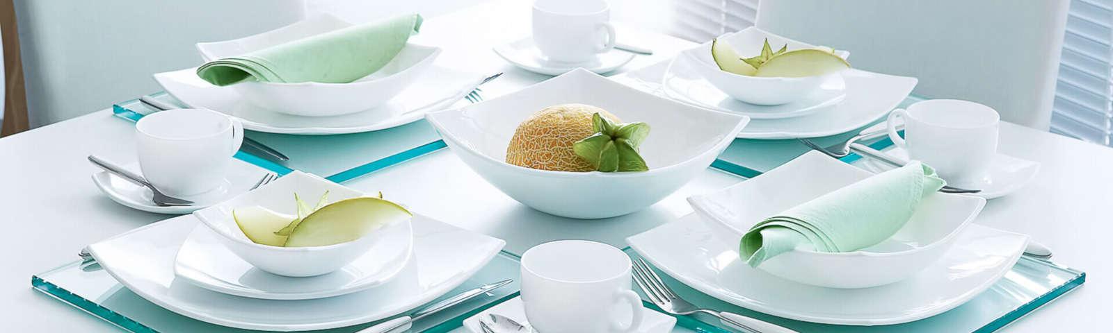 тарелки квадратные белые
