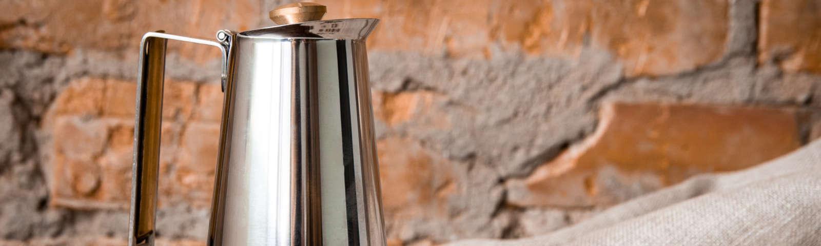 гейзерная кофеварка из нержавеющей стали фото