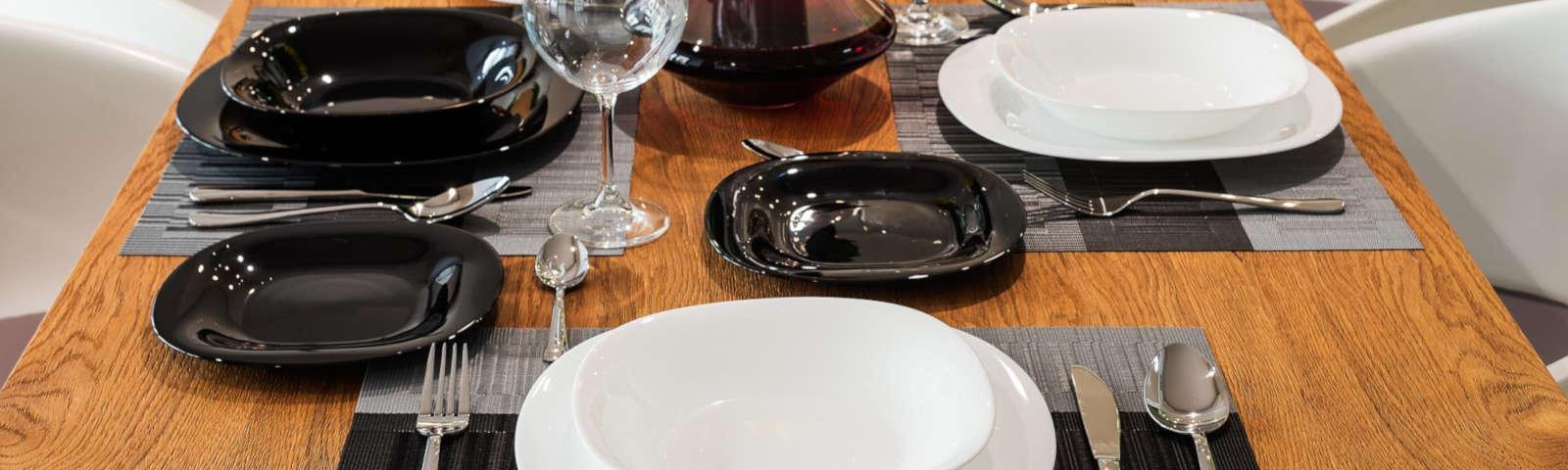 столовый сервиз черно-белый фото
